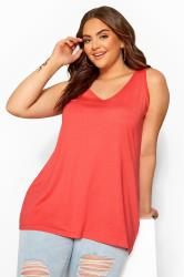 Coral Pink Cross Back Vest Top