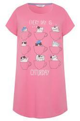 Nachthemd mit Glitzer-Schriftzug - Pink