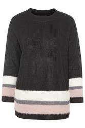 Black Glitter Colour Block Hem Knitted Jumper