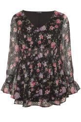 Black Floral Dobby Shirred Blouse