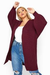 Burgundy Oversized Balloon Sleeve Knitted Cardigan