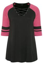 Black & Pink Lattice Front Varsity Top
