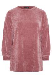 Pink Chenille Drop Shoulder Co-ord Sweatshirt