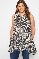 Black & White Sleeveless Zebra Shirt