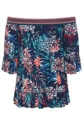 Navy Animal Tropical Print Shirred Bardot Top