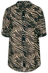 Übergroßes Zebra-Boyfriend-Hemd - Schwarz/Beige