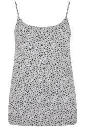 Grey Marl Ditsy Floral Vest Top