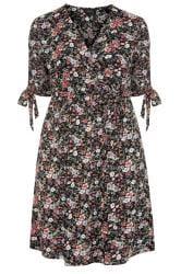 Wickel-Kleid mit Blumen-Muster - Schwarz
