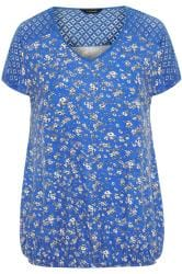 Blue Ditsy Floral Crochet Lace Bubble Hem Top
