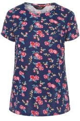 Navy Floral Pocket T-Shirt