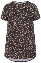 Margeriten-T-Shirt mit Ziertasche - Schwarz