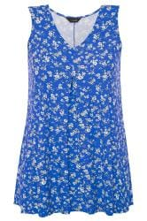 Cobalt Blue Ditsy Floral Swing Vest Top