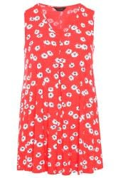 Red Daisy Swing Vest Top