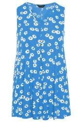 Blue Floral Swing Vest Top