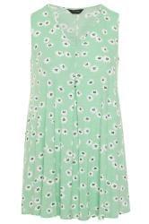 Mint Green Floral Swing Vest Top