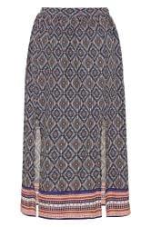 Blue Aztec Border Split Maxi Skirt