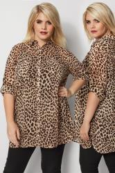 Brown Animal Print Chiffon Shirt