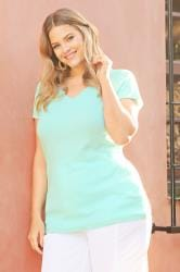 Aqua Blue V-Neck T-Shirt