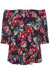 Navy Floral Print Shirred Bardot Top