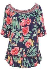 Navy Floral Shirred Bardot Top
