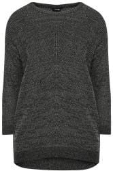 Charcoal Grey Marl Chunky Knitted Jumper