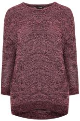 Rose Pink Marl Chunky Knitted Jumper
