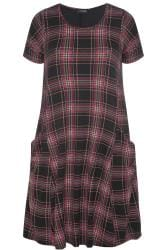 Black & Pink Check Drape Pocket Dress