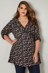BUMP IT UP MATERNITY Black & Multi Floral Ruffle Wrap Top With Tie Back