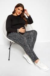 BUMP IT UP MATERNITY Black Aztec Shirred Harem Trousers