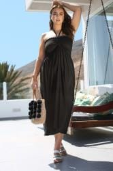 Black Shirred Halterneck Midi Dress