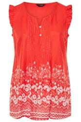 Red Daisy Border Print Sleeveless Blouse