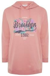 Blush Pink 'Brooklyn' Slogan Hoodie