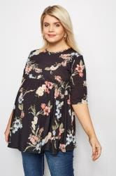BUMP IT UP MATERNITY Black Floral Top