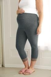 BUMP IT UP MATERNITY Charcoal Cropped Leggings With Lace Trim