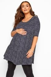 BUMP IT UP MATERNITY Navy Ditsy Floral Tiered Smock Tunic