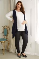BUMP IT UP MATERNITY Navy Longline Sleeveless Waterfall Cardigan