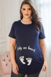 BUMP IT UP MATERNITY Donkerblauw 'Baby On Board' shirt