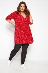 BUMP IT UP MATERNITY Red Ditsy Floral Wrap Top