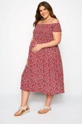 BUMP IT UP MATERNITY Red Ditsy Floral Midi Dress