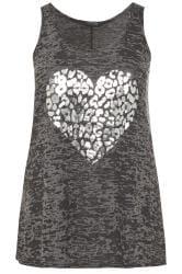 Charcoal Grey Burnout Foil Heart Vest Top