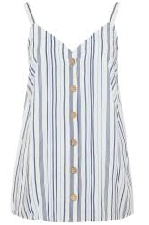 Blue Stripe Button Front Cami