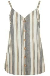 Natural Stripe Button Front Cami