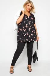 Black Floral Button Front Tunic