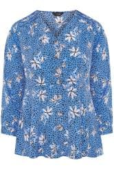Blue Floral Button Peplum Blouse