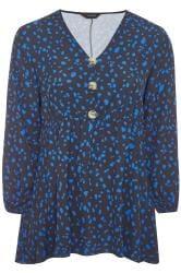 Black & Cobalt Blue Dalmatian Print Button Peplum Top