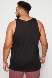 BadRhino Black Plain Crew Neck Cotton Vest