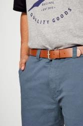 BadRhino Blue Five Pocket Chino Shorts With Belt