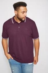BadRhino Dark Purple Textured Tipped Polo Shirt