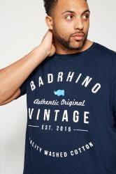 BadRhino Navy Crew Neck Logo T-Shirt