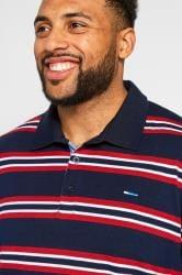 BadRhino Navy & Red Striped Polo Shirt